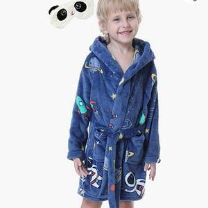 Kids Soft Hooded Thin Flannel Space Bathrobe-NWOT